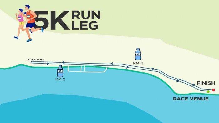 Rute lari Kendari Triathlon 2021 di Kendari Beach, kawasan Teluk Kendari