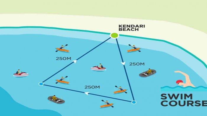 Rute renang Kendari Triathlon 2021 di Kendari Beach, kawasan Teluk Kendari