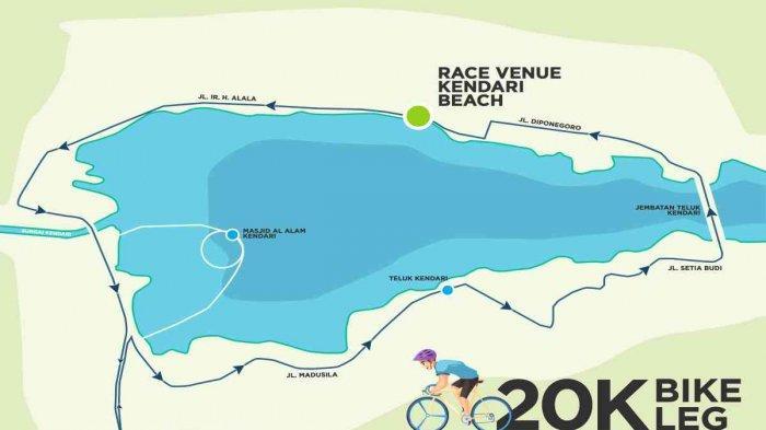Rute bersepeda Kendari Triathlon 2021 di Kota Kendari, Provinsi Sulawesi Tenggara
