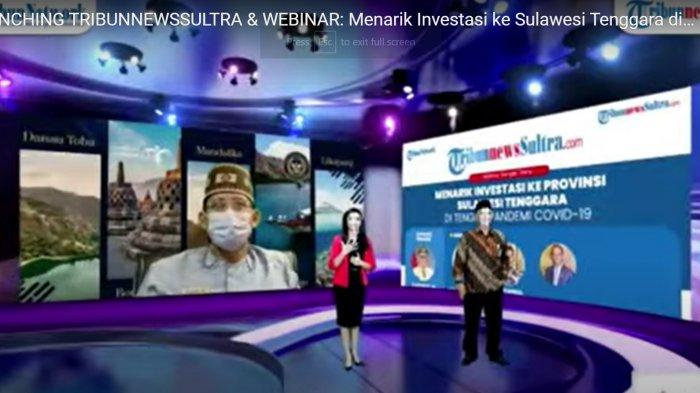 Menteri Pariwisata dan Ekonomi Kreatif Sandiaga Salahuddin Uno pada Launching TribunnewsSultra.com secara virtual dilanjutkan Webinar Nasional bertema Menarik Investasi ke Sulawesi Tenggara di Tengah Pandemi Covid-19, Kamis (18/02/2021).