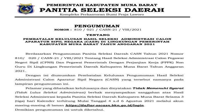 Pemda Muna Barat Batalkan Kelulusan 18 Pelamar CPNS dan PPPK 2021, Gegara Tak Penuhi Syarat