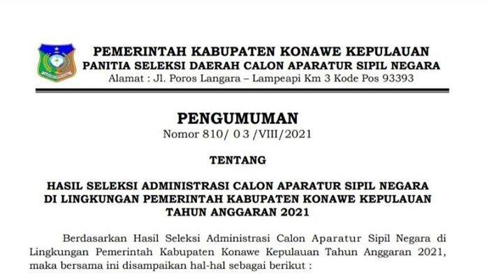 Hasil Seleksi Administrasi CPNS 2021 Konkep, 477 Pelamar Dinyatakan Lolos dan 12 Orang Tidak Lolos