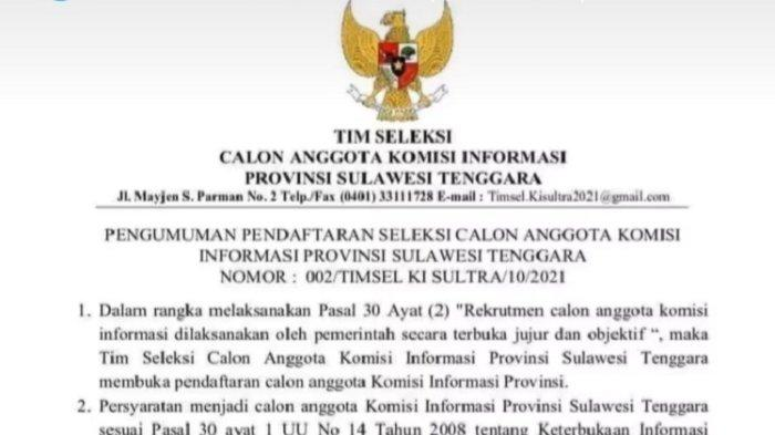 Pemprov Sulawesi Tenggara Buka Rekrutmen Calon Anggota Komisi Informasi, Persyaratan dan Ketentuan