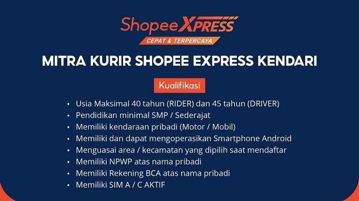Lowongan Kerja Kendari, Shopee Xpress Buka Rekrutmen Mitra Kurir, Klik Link Daftar di Sini