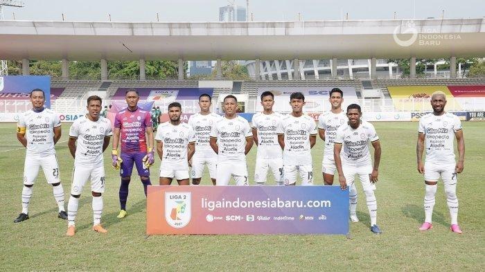 Starting eleven RANS Cilegon FC hadapi Martapura Dewa United di pertandingan pembuka Grup B Liga 2 2021 yang berakhir dengan skor 3-1 untuk kemenangan Martapura Dewa United. (Dok: Liga Indonesia)