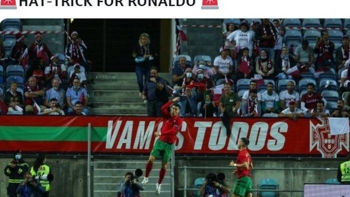 Kualifikasi Piala Dunia 2022, Cristiano Ronaldo Ukir Sejarah Baru, CR7 Tanpa Ampun 3 Gol 6 Menit