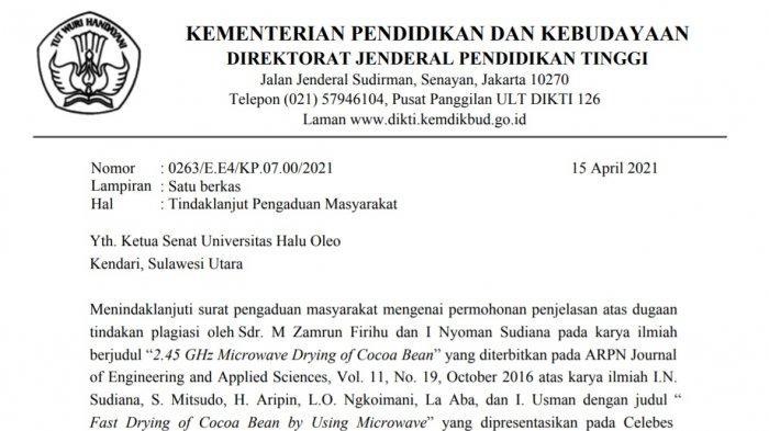 Prof Dr Muhammad Zamrun MSi MSc dinyatakan tidak memenuhi syarat sebagai calon Rektor Universitas Halu Oleo (UHO) Kendari, Sulawesi Tenggara (Sultra) oleh Direktorat Jenderal Pendidikan Tinggi Kementerian Pendidikan dan Kebudayaan (Ditjen Dikti Kemendikbud).