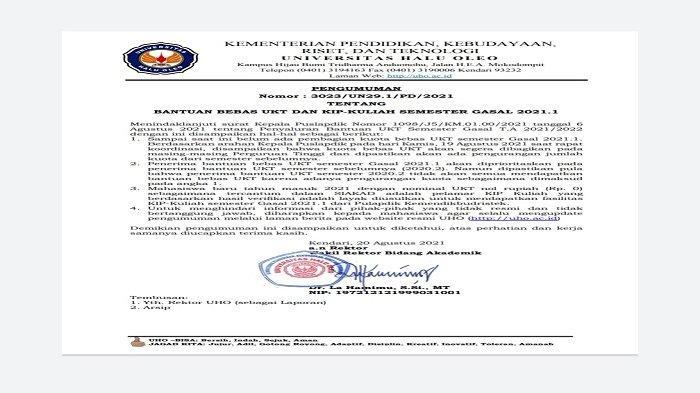 Surat keputusan rektor UHO mengenai bantuan bebas pembayaran UKT mahasiswa untuk semester ganjil atau Gasal 2021.1.