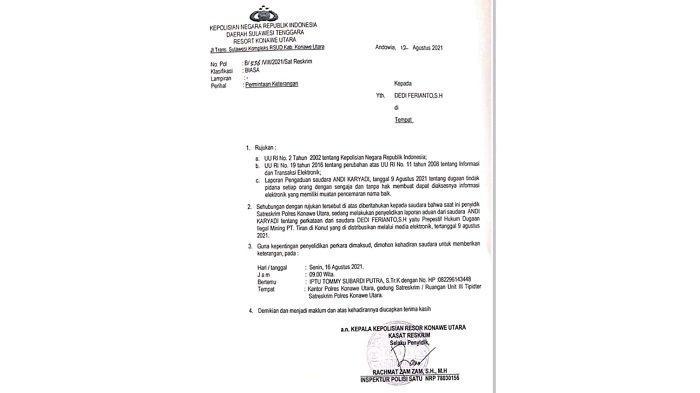 Tulis Opini di Media Massa, Seorang Pengacara di Baubau Dipolisikan PT Tiran Mineral di Polres Konut