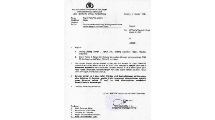 Polda Sultra Surati Satgas Covid-19, Minta Kontingen PON XX Papua Jalani Karantina Setiba di Kendari