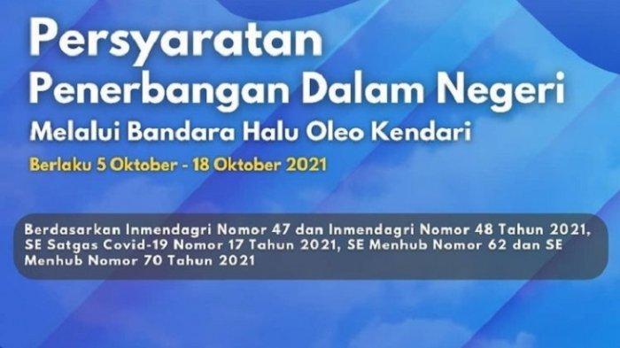 Syarat Penerbangan Penumpang di Bandara Haluoleo Kendari, Berlaku Sampai 18 Oktober 2021
