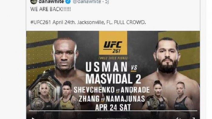 Pengumuman Bos ULC 261 Dana White, pertarungan antara Kamaru Usman dan Jorge Masvidal di Florida 24 April 2021