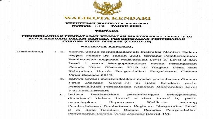 Wali Kota Kendari Keluarkan SK PPKM Level 3, Izinkan Pesta Pernikahan, Berikut Penjelasan 15 Aturan