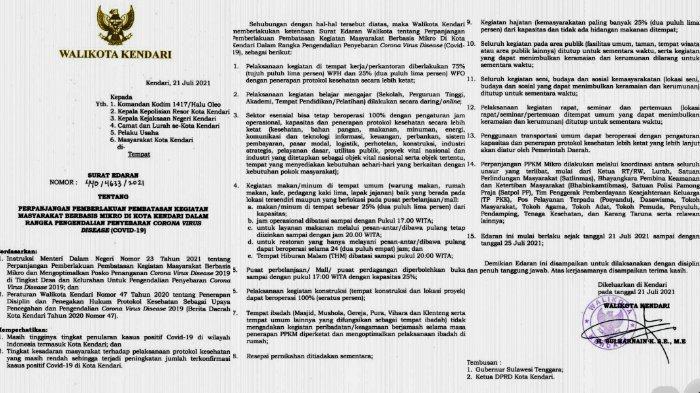 RESMI Surat Edaran Wali Kota Kendari Terkait Perpanjangan PPKM Mikro di Kota Kendari 15 Poin Aturan