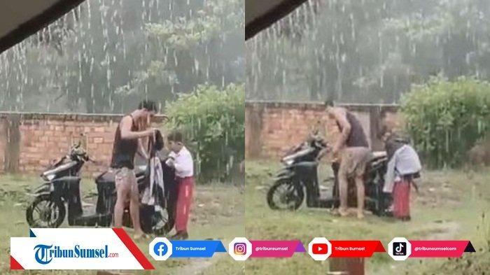 Video Viral Perlakuan Abang ke Adeknya Saat Jemput di Tengah Hujan Deras Bikin Publik Terharu