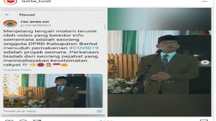 Heboh Anggota DPRD Bantul H Supriyono MSI Sebut Pemakaman Jenazah Covid-19 Seperti Kubur Anjing
