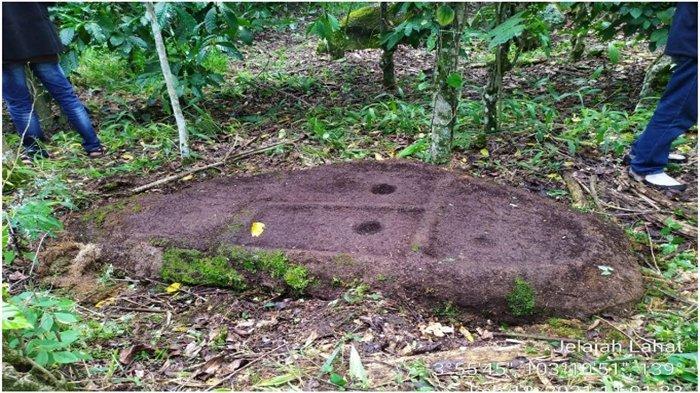 Batu datar yang diperkirakan berusia ribuan tahun yang ditutupi rerumputan ditemukan di Desa Bandar Aji, Jarai Lahat.