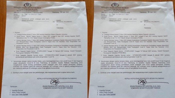 Beredar Surat Kapolrestabes Palembang Tentang Pembatasan Tamu Acara Hajatan, Ini Penjelasannya