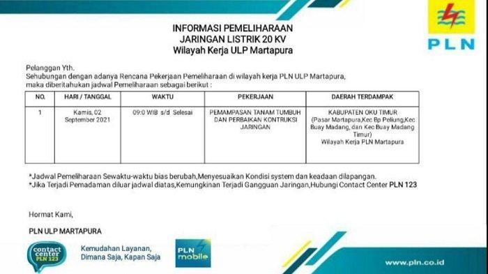 PLN Martapura OKU Timur Lakukan Pemadaman Listrik Kamis 2 September 2021, Ini Wilayah Terdampak