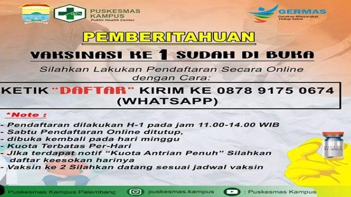 Info Tempat Vaksin Palembang, Puskesmas Kampus Layani Vaksin 1, Daftar Online di Sini