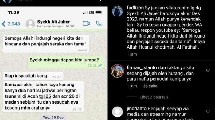Chat pribadi Fadli Zon dengan Syekh Ali Jaber