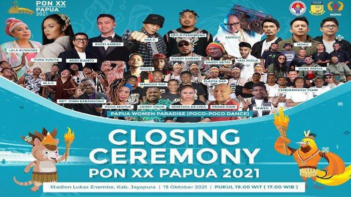 Jabar Juara Umum, Ini Jadwal dan Daftar Bintang Tamu Acara Penutupan PON XX Papua 2021
