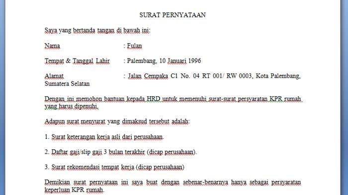 Contoh Surat Pernyataan Pengajuan Berkas Kepada Kantor untuk Mengajukan KPR Rumah Lengkap per Poin