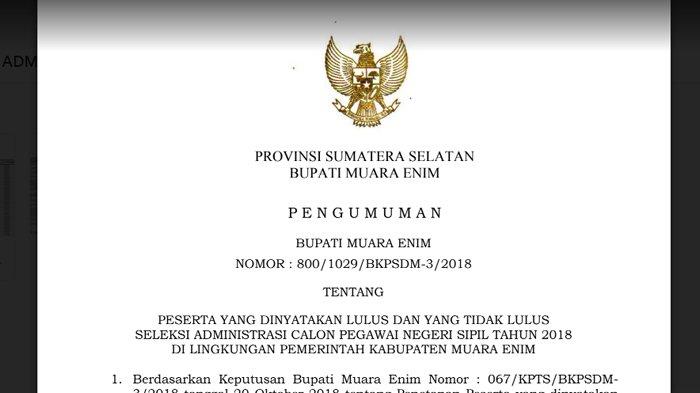 Pengumuman Hasil Seleksi Administrasi CPNS 2018 Kabupaten Muara Enim, Download PDF di Sini