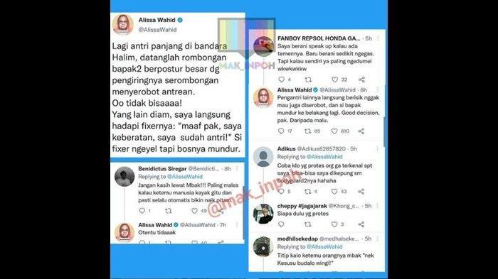 Cuitan Alissa Wahid kisahkan tegur rombongan yagn serobot antrean panjang di Bandara Halim Perdanakusumah, Sabtu (4/9/2021)