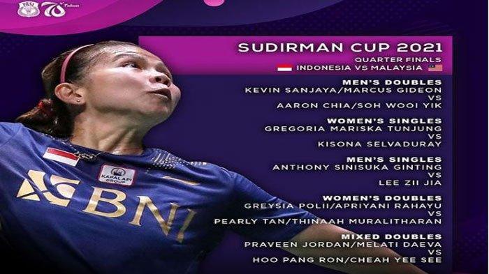 Daftar Susunan Pemain Indonesia Vs Malaysia di Perempat Final Sudirman Cup 2021 Malam Ini