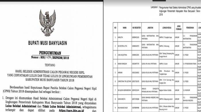 Pengumuman Hasil Seleksi Administrasi CPNS 2018 Kabupaten Musi Banyuasin Download PDF di Sini