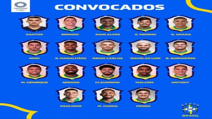 Daftar Skuad Pemain Brazil Olimpiade Tokyo 2020 dan Asal Klub, Ada Mantan Pemain Barcelona