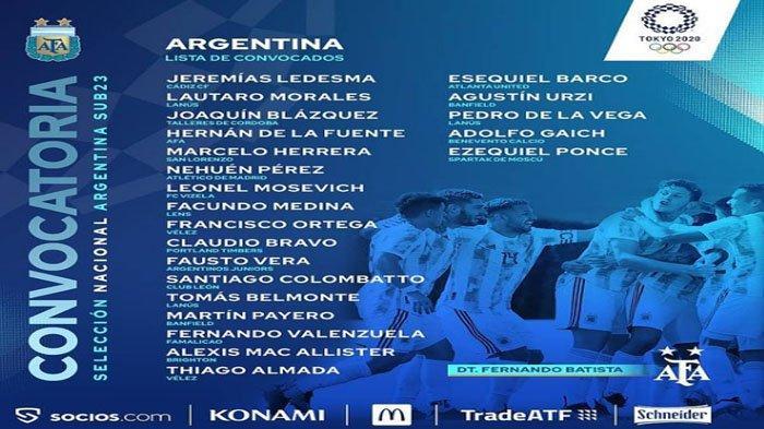 Daftar Skuad Timnas Argentina Untuk Olimpiade Tokyo 2020, Tak Ada Pemain Bintang, 1 Senior