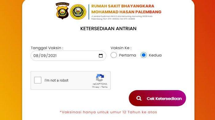 Link dan Cara Daftar Antrean Vaksin Online di Rumah Sakit (RS) Bhayangkara Palembang Dosis 1 dan 2