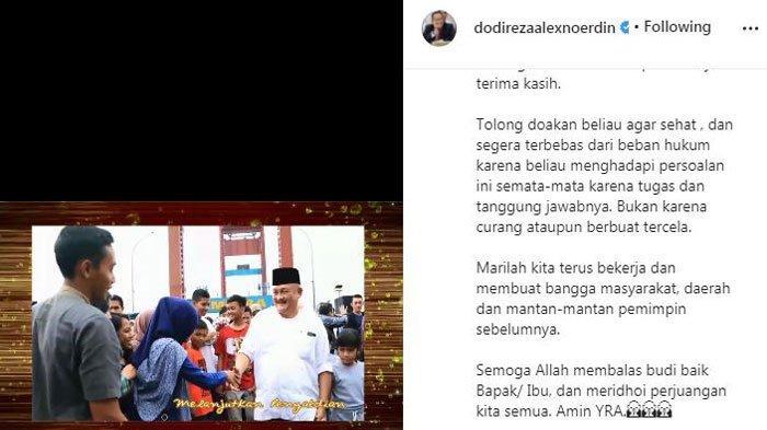 Postingan Dodi Reza Alex Noerdin di akun Instagram pribadinya, Jumat (17/9/2021) malam.