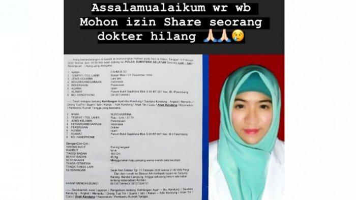 Resign dari Rumah Sakit, Dokter Nurshabrina Pamit Pergi ke Lampung Kemudian Dilaporkan Hilang