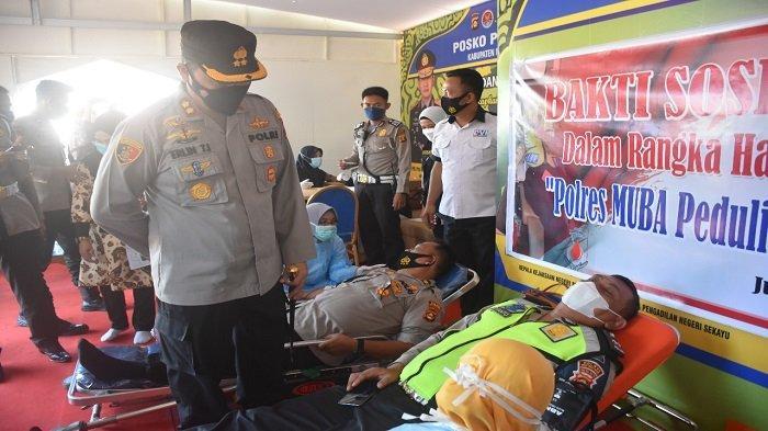 35 Anggota Polri Sukarela Donor Darah Untuk Operasi Jantung Terbuka
