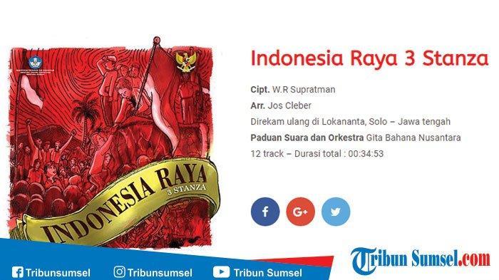 Download Lagu Indonesia Raya Terbaru 3 Stanza Versi Mp3 Mulai Dinyanyikan Sejak 2018 Ada Lirik Lagu Tribun Sumsel