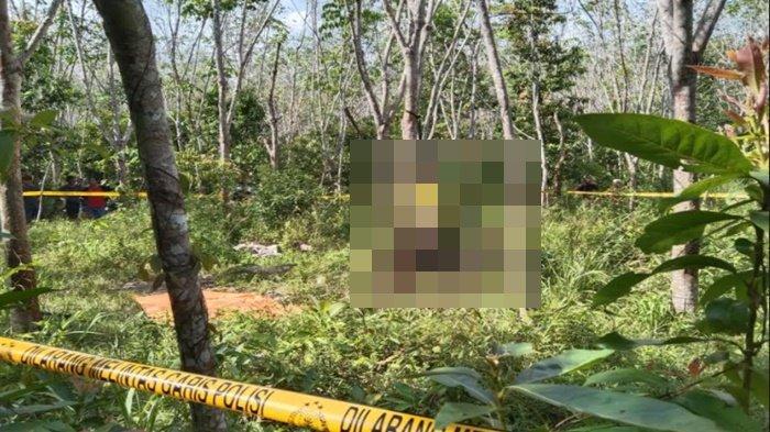 Edi Yansyah alias Anca (35) warga Jalan Tambang Iwak RT 01 RW 04 Kelurahan Tanjung Raman Kecamatan Prabumulih Selatan kota Prabumulih, ditemukan tewas tergantung di batang karet, Rabu (17/3/2021).