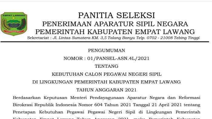 Download PDF Formasi CPNS dan PPPK Kabupaten Empat Lawang Tahun 2021, Unduh File Disini