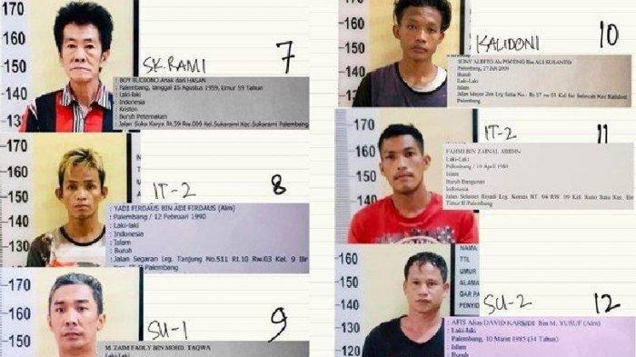 Ini Foto Wajah dan Identitas 30 Tahanan Polresta Palembang Kabur