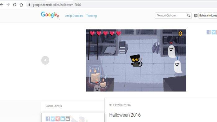 Google Doodle Hallowen Cat 2016