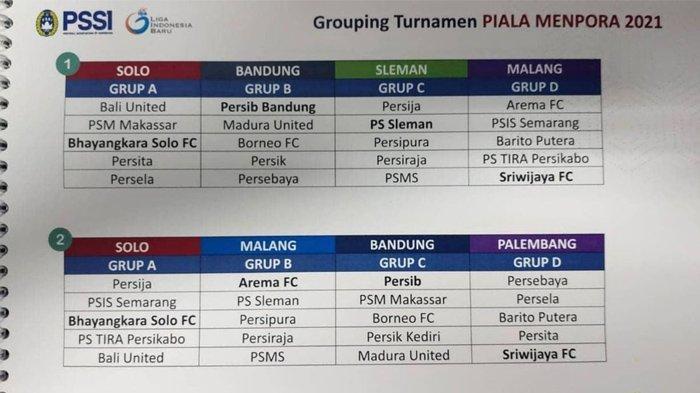 Pembagian Grup Turnamen Piala Menpora 2021 Bocor, Sriwijaya FC Kembali Bertemu Persita