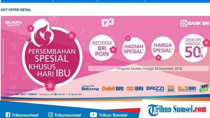 Promo Hari Ibu 22 Desember, Bank BRI Berikan Diskon Hingga 50 Persen, Cek di Sini Kategorinya