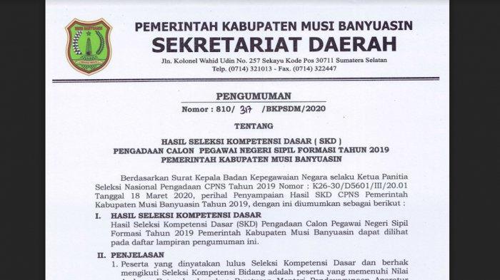 Download PDF di Sini, Hasil Final SKD CPNS 2019 Kab Musi Banyuasin (MUBA), Cek Nama Kamu