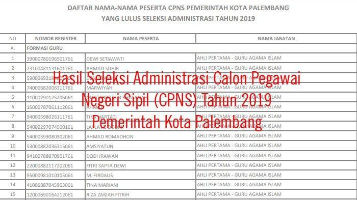 Hasil Seleksi Administrasi Calon Pegawai Negeri Sipil (CPNS) Tahun 2019 Pemerintah Kota Palembang