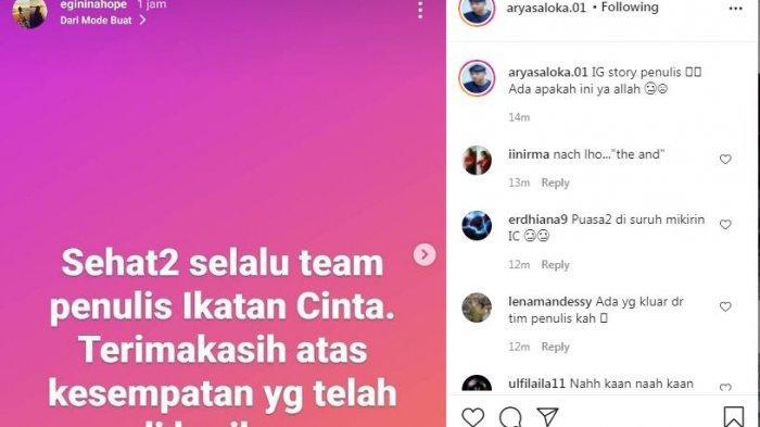 Instagram story penulis Ikatan Cinta