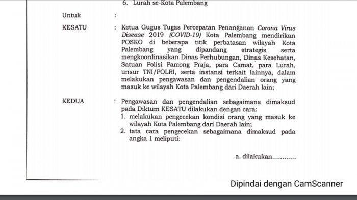 Breaking News: Palembang Belum Terapkan PSBB, Harnojoyo Pilih Keluarkan 10 Instruksi