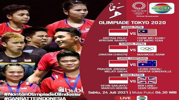 Jadwal Pertandingan Bulutangkis Olimpiade Tokyo 2020, Besok Pagi Atlet Indonesia Mulai Berlaga