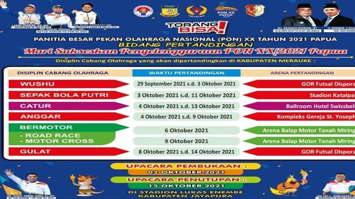 Jadwal Lengkap Pertandingan Seluruh Cabang Olahraga di PON XX Papua 2021